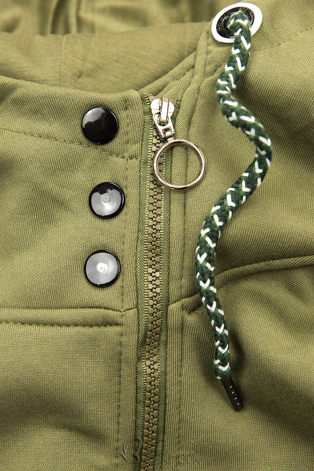 Kapuzensweatjacke in langer Form khaki
