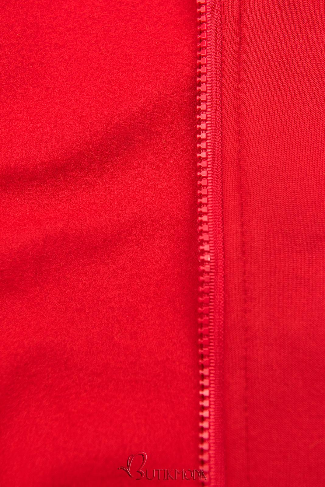 Sweatshirtjacke mit Stehkragen rot