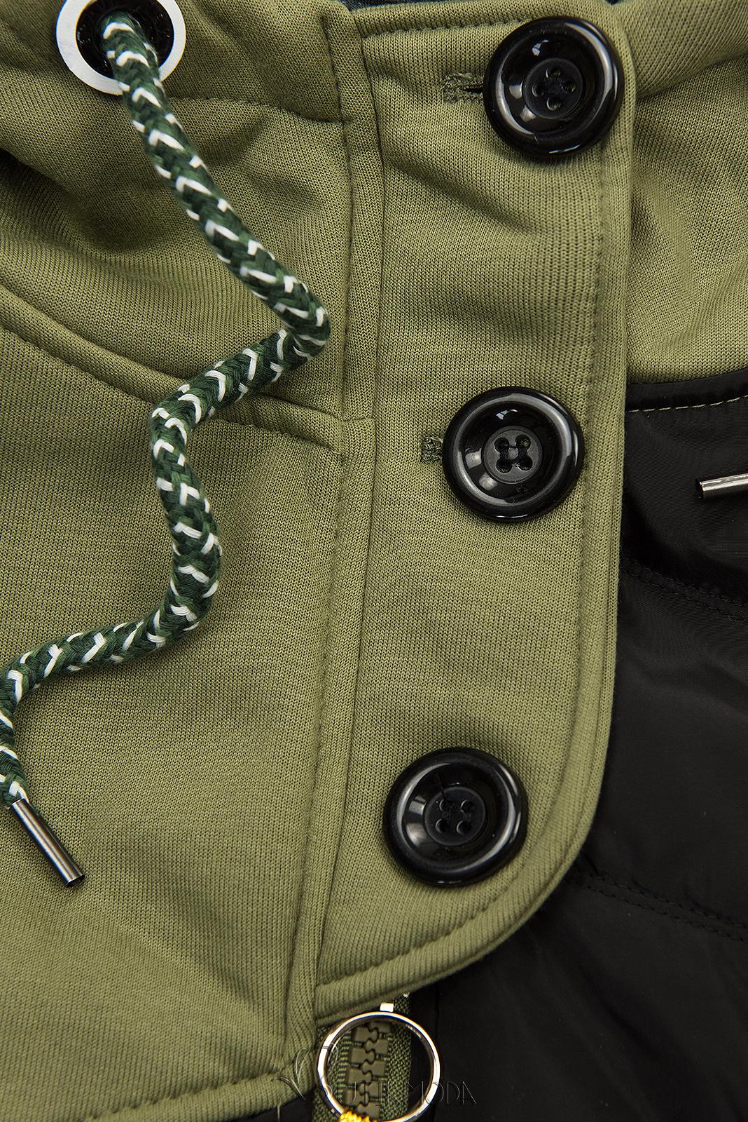 Hybrid Sweatjacke in langer Form khaki