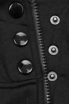 Kapuzensweatjacke in langer Form schwarz
