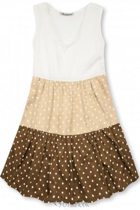 Kleid mit Punktedruck beige/braun
