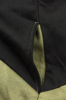 Sweatshirt mit Blumenmuster khaki/schwarz