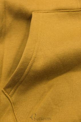 Sweatshirt mit Kapuze in Velour-Optik mustard