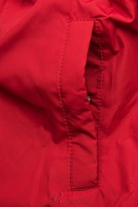 Parkajacke in gesteppter Optik schwarz/rot