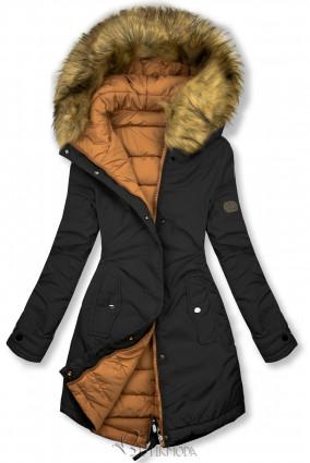Jacke auf beiden Seiten tragbar schwarz/karamell
